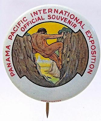 1915 PANAMA PACIFIC INT'L  EXPOSITION OFFICIAL PPIE pinback button w/ backpaper