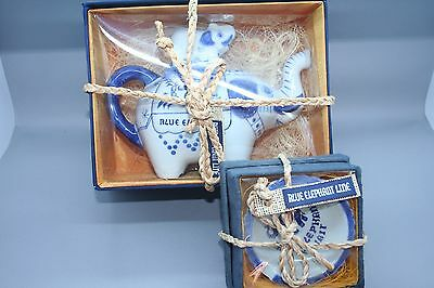 Beautiful Blue Elephant Tea Pot with calf on top with small ash tray - Boxed
