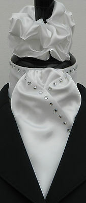 Ready Tied White Faux Silk Riding/Dressage/Hunting Stock + Diamantes + Scrunchie