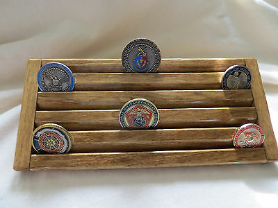 Military Challenge Coin/Casino Chips Wood Display Holder 5 Tier- Walnut  Stained