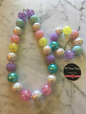 """Sprinkles"" Bubblegum Bead Necklace & Bracelet Set"