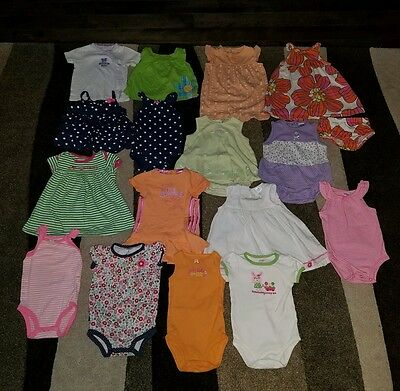 Girls Size 9 Months Lot of Summer Clothes Carters dress bodysuits