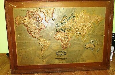 1894 Central School Supply House Relief Map of the World  48 in.X 34 in.