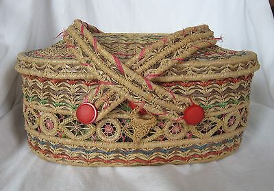 Antique Sewing Basket FULL of Sewing Supplies