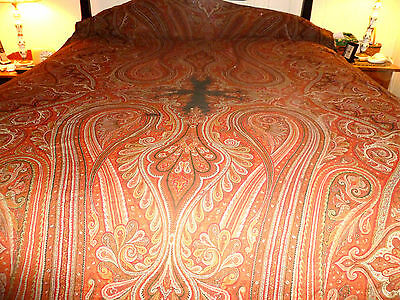 "Beautiful Antique Paisley Wool Long Shawl with 7 Colors 60"" x 120"""