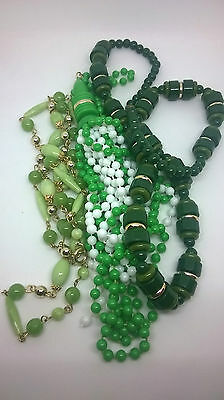 Vintage Jewellery Three Green 1970s Plastic Bead Necklaces Excellent Condition
