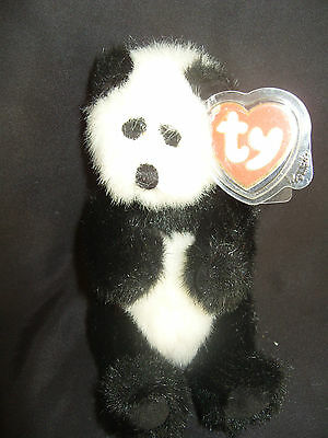 Ty Beanies Bear - Attic Treasures Checkers The Panada With Tag