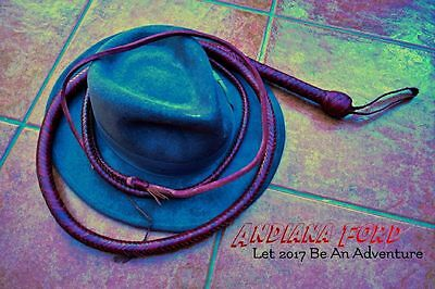 Authentic Indiana Jones 8 foot Replica Leather Hide Bullwhip