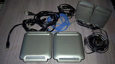 Lot Computer Stuff - Network Switch + Ethernet Router, Belkin, Cables, Speakers