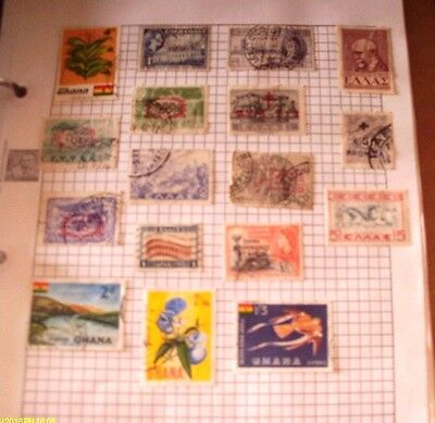 Old  Album Page Of 17Vintage Used Mixed Stamps  See Photos For Condition