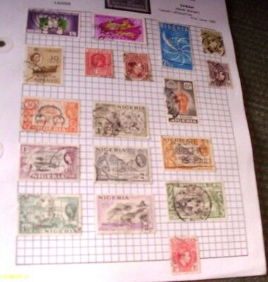 Old  Album Page Of 18 Vintage  Mixed Used Stamps  See Photos For Condition