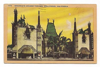 OLD VINTAGE 1946 POSTCARD of GRAUMAN'S CHINESE THEATER HOLLYWOOD CALIFORNIA