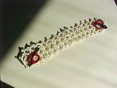 Tatted Bookmark Cream 2 Red Black Lady Bugs Lace Book Gift  Dove Country Tatting