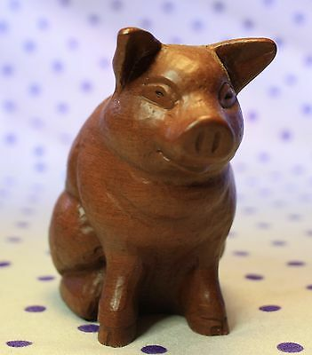 Vintage 1993 Red Mill Mfg Hogstead Pig Handcrafted Crushed Pecan Resin Figurine