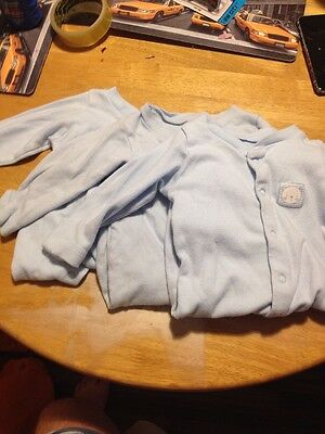 3x Boys Sleepsuits Size 0-3 Months
