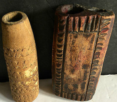 c1800's Lot of Two Authentic Carved Wooden Native American Paint Face Pots L1