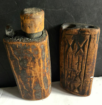 c1800's Lot of Two Authentic Carved Wooden Native American Paint Face Pots L3