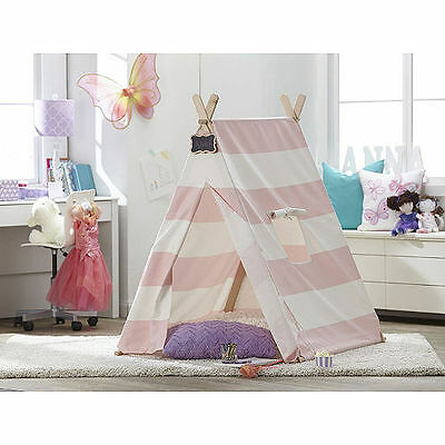 Kids Glow In The Dark Teepee Indoor Pink Stripe Canvas Tent Playroom