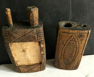 c1800's Lot of Two Authentic Carved Wooden Native American Paint Face Pots L7