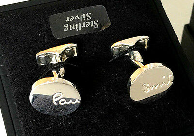 """Paul Smith PS """"VERY RARE"""" UNIQUE TWISTED SHAFTS 925 STERLING SILVER Cufflinks"""