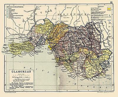An antique map of Glamorgan/ Morgannwg, Wales C1897.