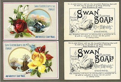 SWAN FLOATING SOAP - 2 Trade Cards 1880's ROSES Allen Wrisley Chicago