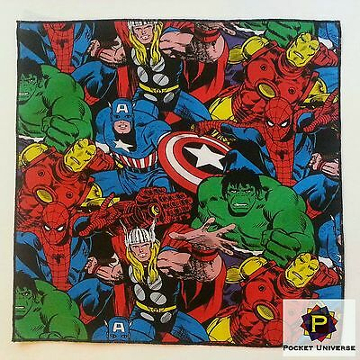 Marvel Super Hero's Avengers Thor Iron Man Cotton Pocket Square Handkerchief