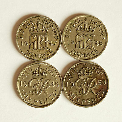 Four George VI sixpence coins dated 1947 to 1950