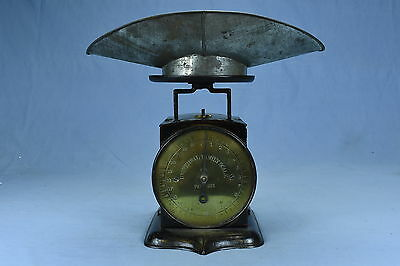 Antique 1865 CAST IRON UNIVERSAL FAMILY SCALE BRASS FACE with SCALE PAN LOT #25A
