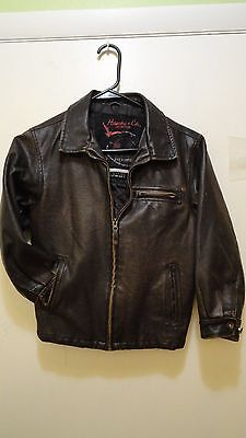 Kids Brown Leather Bomber Biker Jacket size 7 Hawke & Co Outfitter