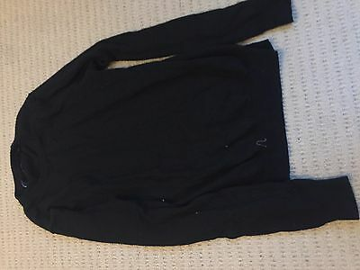 Country Road Black Jumper - Extra Fine Merino Wool - Size Small