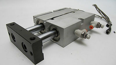 SMC Dual Rod Pneumatic Guided Cylinder with Reed Switches - CSX (No Label)