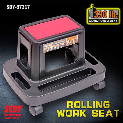 Rolling Seat Roller Work Stool Trolley with Tool Tray Storage Container Workshop