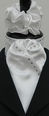 Ready Tied White Faux Silk Riding Dressage Hunting Stock Diamantes + Scrunchie