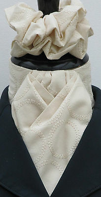 Ready Tied Cream Circles Embroidered Cotton Dressage Riding Stock & Scrunchie