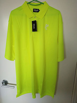 Tour Style Golf Shirt - Yellow Day Glo Premium Cotton - Size Medium Usa Size