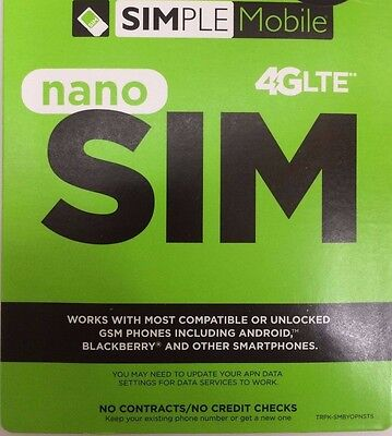 SIMPLE MOBILE NANO SIM CARD FIRST MONTH FREE** $60 Unlimited 4G LTE