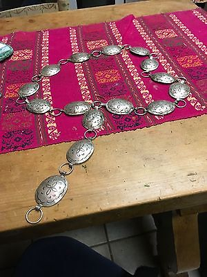 STERLING Silver Concho American Indian Belt