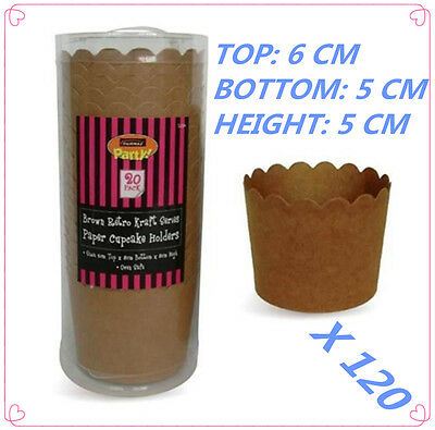 120 X Brown Paper Kraft Cup Cake Holders Cases Cupcake Candy Lolly Party Bakery