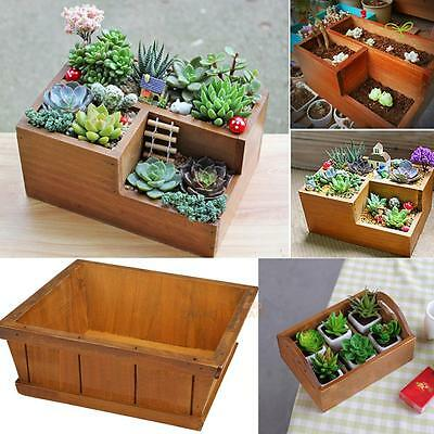Wooden Succulent Planter Flower Cactus Plant Pot Bed Box Case Garden Home Decor