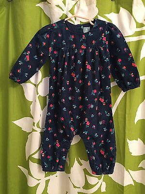Girl's Baby Gap Floral Navy Blue Corduroy Long Romper Outfit Size 6-12 Months
