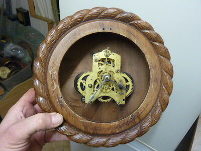 """Antique American Ansonia """"rope Twist"""" Wall Clock With Unusual Movement ?"""