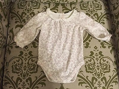 Janie and Jack Layette Girls Collered Flower One-Piece, Long Sleeved, Size 0-3M