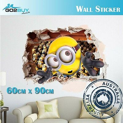 3D Wall Stickers Removable Minion Broken Wall Kids Room Decal