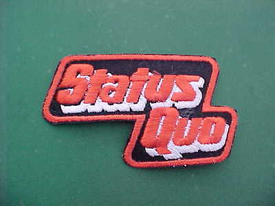 "1970s Vintage STATUS QUO ROCK BAND RED LETTERED PATCH Large 4"" x 2.5"" RARE!"