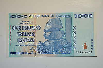 mw131 Zimbabwe, 100 TRILLION Dollars *AA* 2008 UNC World's largest CURRENCY Bill