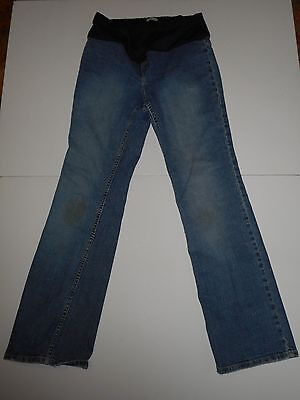 "Old Navy Maternity Boot Cut Jeans Medium Wash Size Small Long 31"" Inseam STAINED"