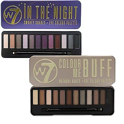 W7 Colour Me Buff Natural Nudes And In The Night Eye Shadow Palette Set