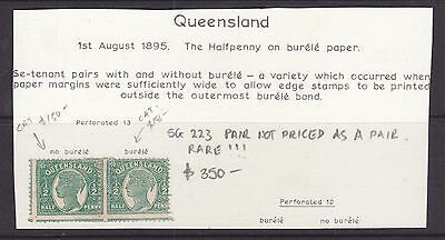Qld  The Half Penny On Burele Paper. Se Tenant Pair With And Without Burele