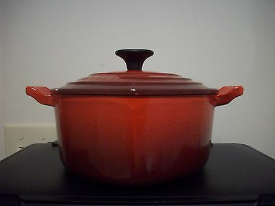 Used Le Creuset Enameled 2qt Red Heart Cast Iron Pot with Handles & Lid